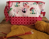 """Project bag small for socks """"Fairy-tale"""", lined and interfaced, Leukgemaakt, knitting bag crochet, gift for her, birthday present, Christmas"""