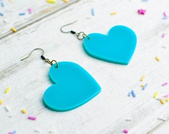 Heart Earrings in Teal Turquoise | Large Dangly Heart Earrings | Laser Cut Jewellery | Nickel Free Colour Lover Earrings
