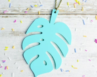 Mint Green Monstera Leaf Necklace | Pastel Cheese Plant Statement Necklace | Extra Long Necklace | Nickel Free