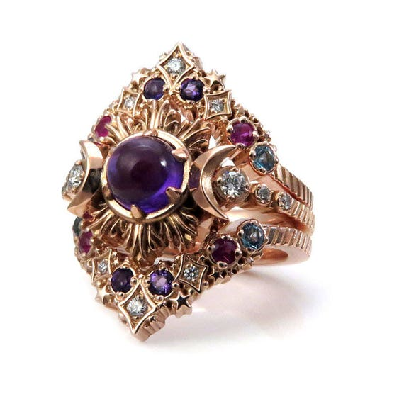 Amethyst Nebula Engagement Ring Set - Stardust Chevrons and Crescent Moons