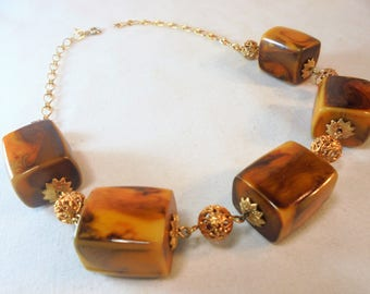 Vintage Lucite Collar Necklace Marbled Cubes Filigrees CELEBRITY NY Art Deco Mid Century MOD Large Chunky Retro Statement Runway