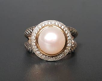 ATR 14K Pearl Sterling Ring CZ Halo Size 6