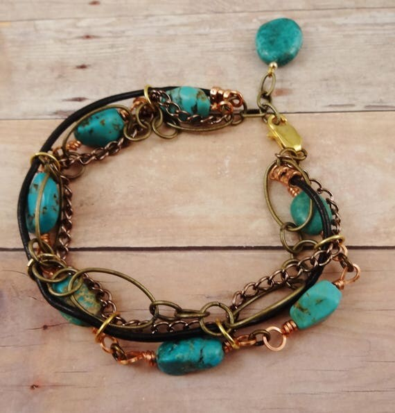 Boho Rustic Turquoise Bracelet with Antique Brass Chain and Leather