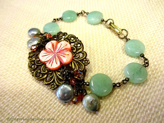 Mint Chrysoprase, Mother of Pearl and Coin Pearl and Crystals Bracelet, Antique Filigree, Green Bracelet, Artisan Bracelet, Victorian Style