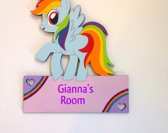 My little pony sign, Pony room sign, girls room decor, little pony room decor, Princess decor, girls room signs, kids door hangers,