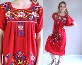 vintage 70s Bold Red MEXICAN colorful EMBROIDERED DRESS Medium/large ethnic boho hippie festival bright