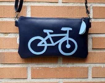 Bike purse bag,leather bag,bicycle bag,biker purse,circle purse,bike handbag,blue purse,sports bag,crossbody bag,zippered bag,bikers gift