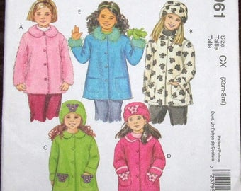 McCall's Sewing Pattern 4961 Little Girls  Button Front Plush Fleece Coat Jackets and Hat Size 3-4 5-6 Chest 22-23 24-25 Uncut Factory Folds