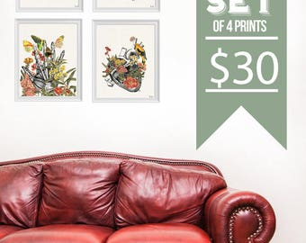 "Set of Four 8x10"" for 30USD. Prints for sale - Cool Anatomical poster art  -House Decor Wall, hanging, Art Set, Docotrs office gift SET016"