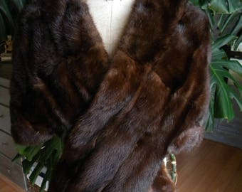 Dark mink fur stole / cape / shrug / wedding