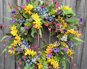 Spring Summer Wreath, Wreath Spring and Summer, Colorful Wreath for Door or Mantle, Door wreath Yellow, Pink, Purple, Blue Etsy Wreath