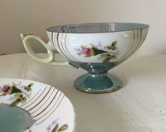 HB Signed Lustreware Teacup and Saucer, Tea Party, Hostess