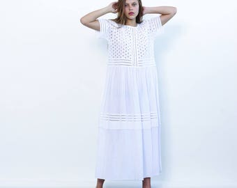 Big Summer Sale Eyelet Embroidery Panel Dress, Party Dress, White maxi dress.
