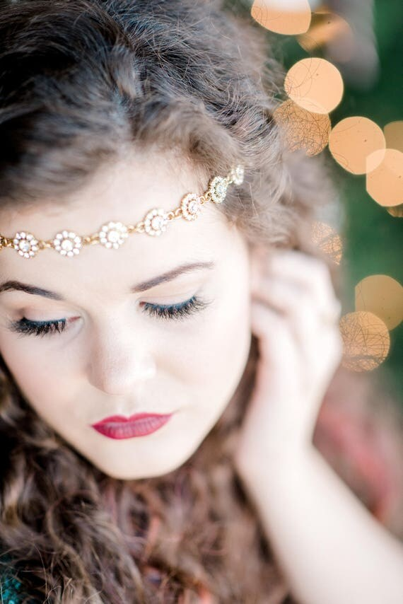 Gold Bridal Headpiece, Head Chain, Bridal Hair Chain, Rhinestone Head Chain, Flapper Headpiece, Halo Hair Chain, Great Gatsby LORELLE