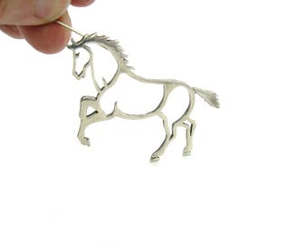 Navajo Horse Brooch. Rearing Wild Pony Sterling Silver Outline. Signed B.W. Belinda Woody. Vintage 1990s Native American Animal Jewelry