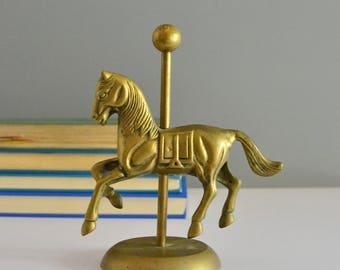 Brass Carousel Horse - Vintage Horse Whimsical Nursery Decor Figurine Carnival Circus