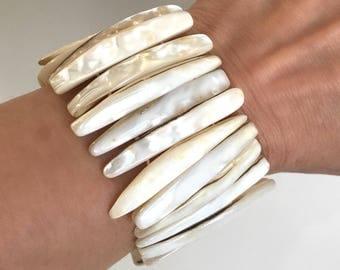 Shimmery White Shell Mother of Pearl Stretch Bracelet Wide Bracelet Stretch Cuff Bangle White Shell Bracelet