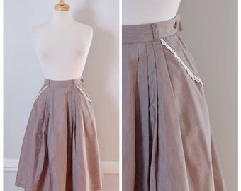 50s Skirt / Vintage Skirt / 50s Vintage Skirt / 1950s Skirt / Skirt With Pleats / Taupe / Cotton / Full Skirt / Bobbie Brooks / Size Small