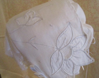 White Cutwork Handkerchief Bonnet