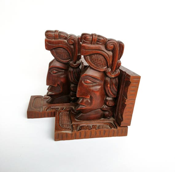Vintage Carved Wooden Mayan Head Bookends from Honduras