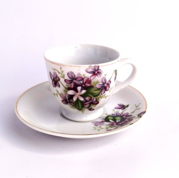 Vintage 1960's Floral Teacup and Saucer with Purple Lilacs