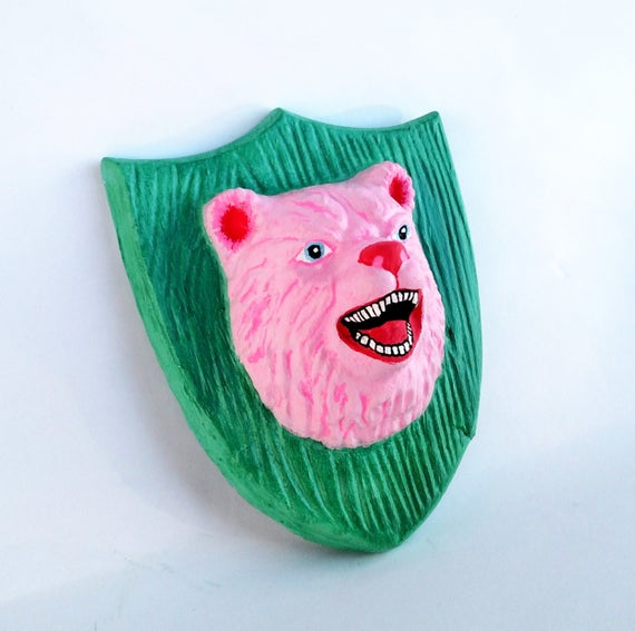 Bear Head Trophy Plaster Wall Plaque in Bubblegum Pink and Tropical Teal