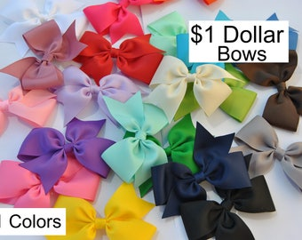 Hair Bows, Toddler Hair bows, One DOLLAR Bows, Girls Hair bows, Hair bow set, 3inch Hair Bows, Hair bow Lot, No slip hair bows, 21 colors