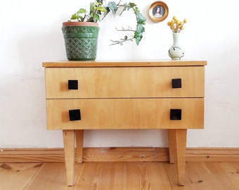 Vintage German Small Chest of Drawers Lower Cabinet Nightstand Side Table