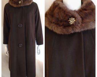 Vintage 1960s Coat Dark Brown Dress Coat Fur Collar and Rhinestone Button