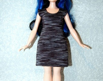 Dress fits Curvy Barbie fashionista fashion doll clothes Black Stripe A4B182