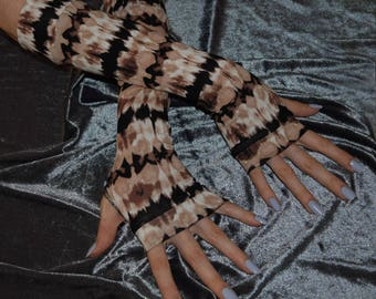 Brown Beige Tie dyed Arm Warmers Fingerless gloves Armwarmers gothic goth gypsy dancing hippy hippie bohemian burlesque belly dance yoga run
