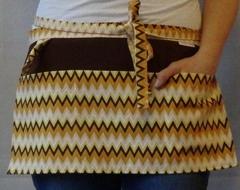 Teacher Apron Fall Theme - Garden Apron with pockets and loop in brown, white, yellow, and mustard zigzag