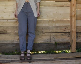 Grey Denim High Waisted Jeans Pants vtg 80's mom jeans high rise pants