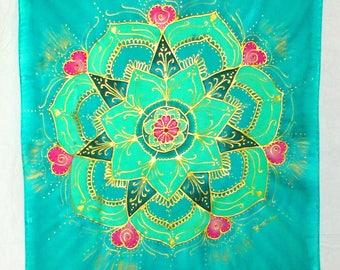 heart chakra green mandala, hand painted silk, mandala art, mandala wall hanging, silk wall hanging, spiritual art, yoga art, reiki,