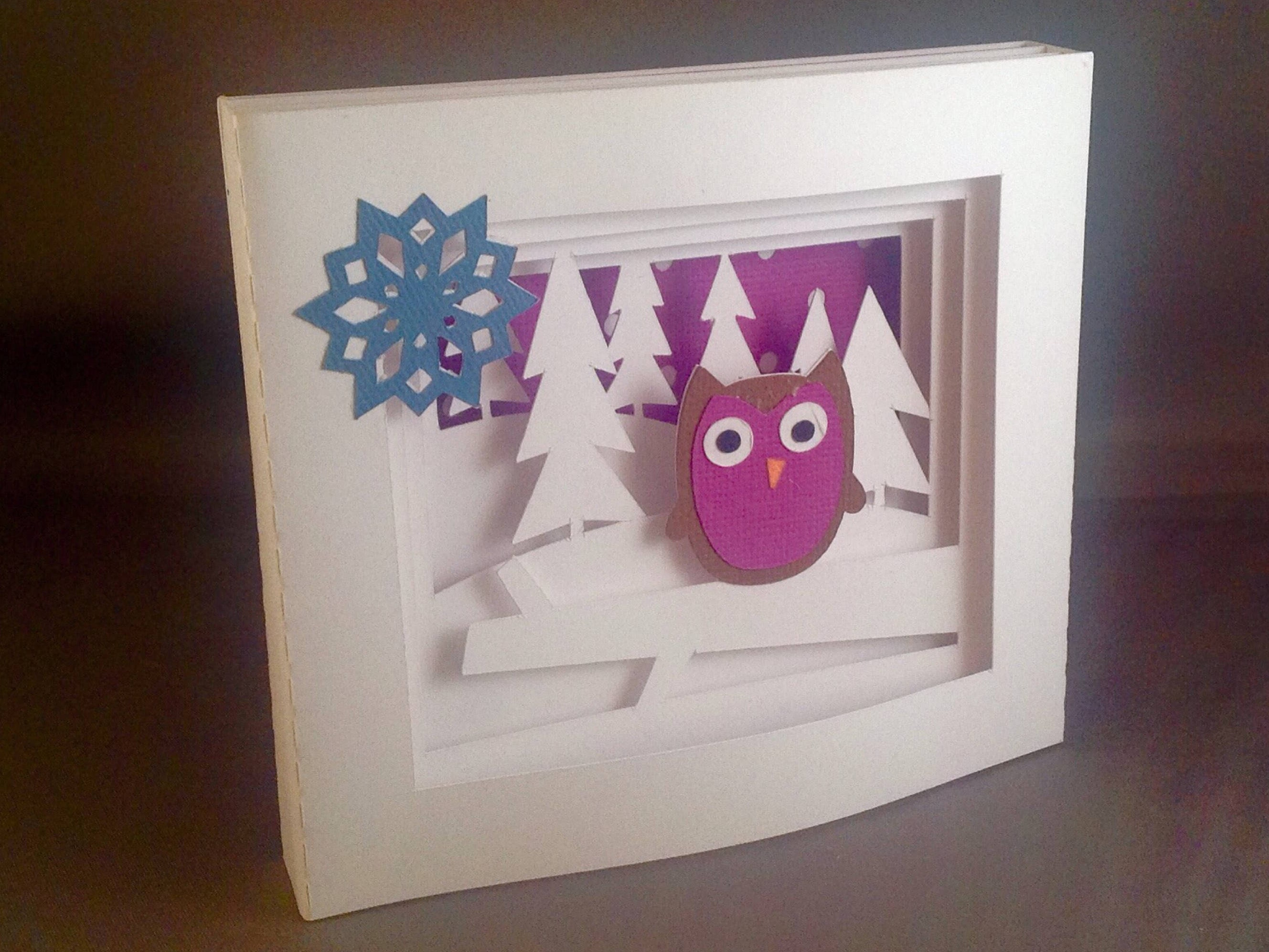 Cute Owl with Snowflake Nature Inspired Shadow Box Card for Her