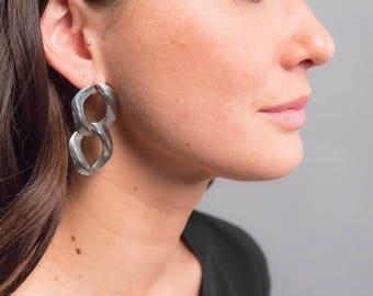 Oversized Chain-Link Earrings / Vintage 80s Earrings / Bold Statement Earrings / Costume Jewelry / Oversized 80s Earrings