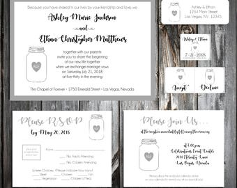 75 Mason Jar Wedding Invitations, RSVP's, Reception Inserts w/ FREE Calendar Stickers
