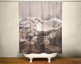 Ski Mountain Shower Curtain, Winter Bathroom, Gift for Skier, Mountains Decor,  Mountain Range, Shower Curtain, Snowy Mountains