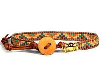 Bead Loom Bracelet Leather Wrap Bracelet Skinny Turquoise Gold Small Medium Skinny Seed Bead Bracelet Rustic City Spring Collection RCS02