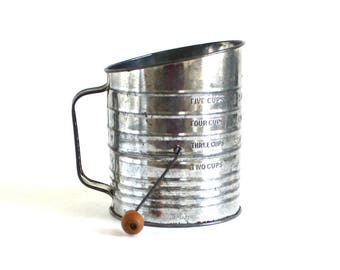 Bromwell's Measuring Sifter Antique Flour Sifter Food Photography Prop Hand Crank Kitchen Utensil Gadget Metal
