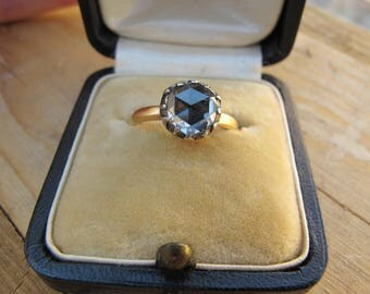 Antique Georgian Era Collet Set Rose Cut Diamond Solitaire Ring in 18k Yellow Gold and Silver