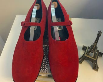 Red Suede Mary Jane Flat by Pancaldi 8M
