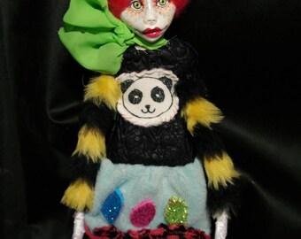 ooak art doll, panda, rainbow, mix