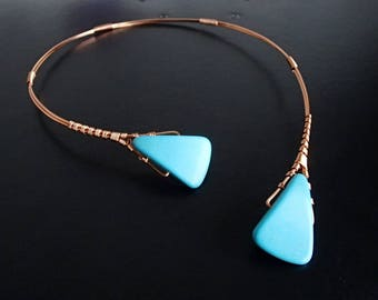 Turquoise Necklace, Wire Necklace, Copper Necklace, Statement Necklace, Unique Necklace, Open necklace, Asymmetric necklace