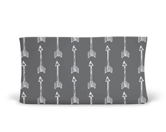 Changing Pad Cover Shooting Arrows on Charcoal Grey - ModFox Exclusive - Grey Changing Pad Cover - Arrow Changing Pad Cover-Soft Minky Cover