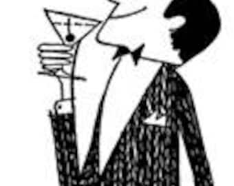 Cheers Man with Drink Martini Party Pub Toast - Digital Image - Vintage Art Illustration