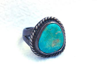 Large Turquoise Ring Size 5 .5 Vintage Native American Southwestern Statement Chunky Jewelry Cocktail Ring