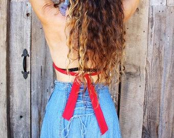 Denim Long Skirt // Lace Up Corset Maxi // Blue Boho Bohemian Gypsy Prairie // Size 5 27 inch waist