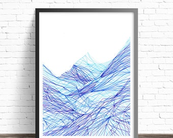 Mountain Print. Abstract Art Prints. Line drawing print. Modern art. Minimalist print. Modern abstract art. Mountain wall art