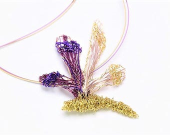 Dragonfly necklace, purple gold necklace, wire sculpture, nature, insect art jewelry, modern hippie, unusual gift women, Christmas gift